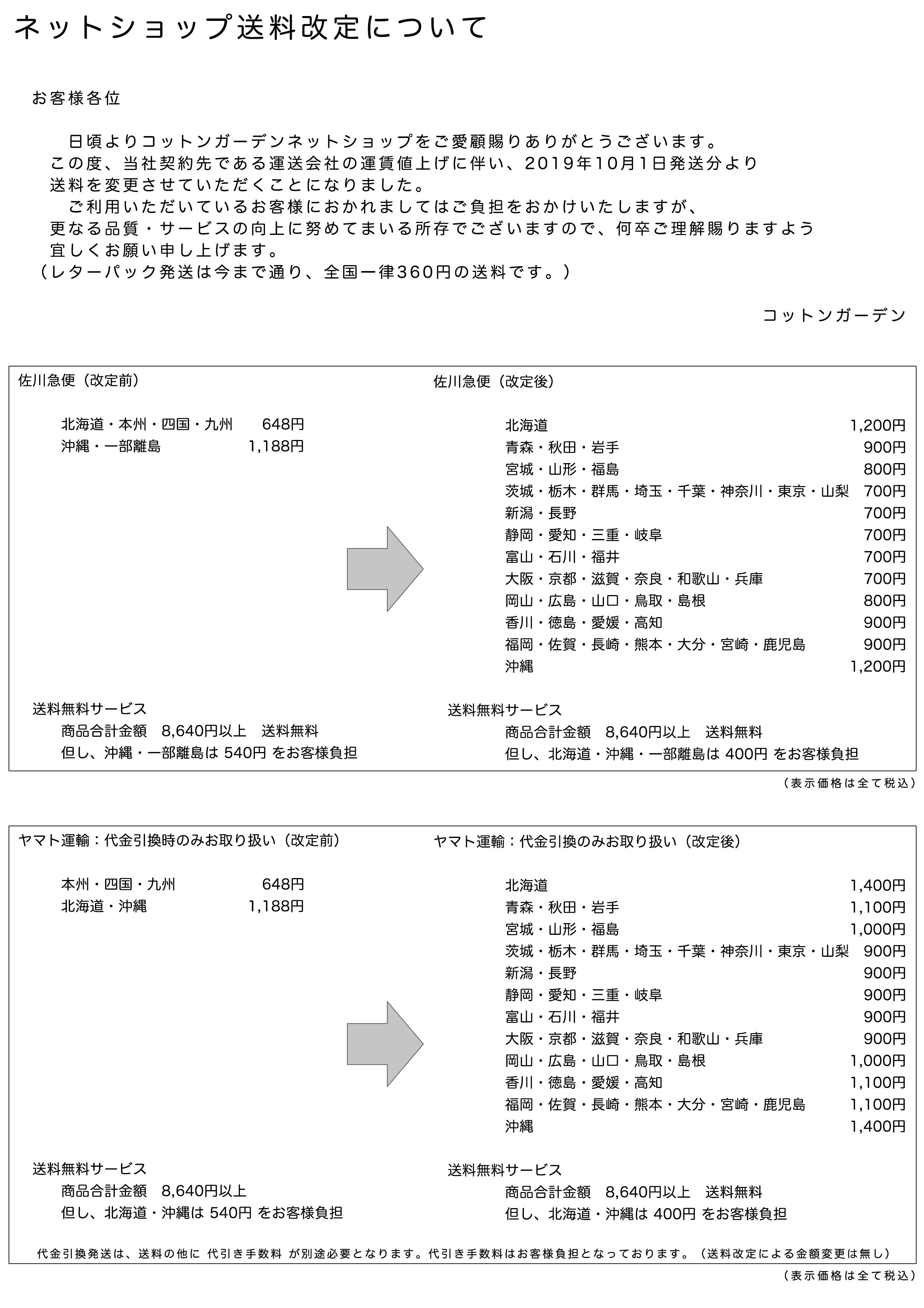 【重要】運送料金改定について パッチワーク専門店コットンガーデン